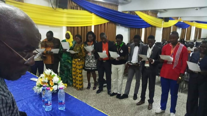 GACOPA elected executives taking oath at the Uiniversity of Professional Studies ,Ghana